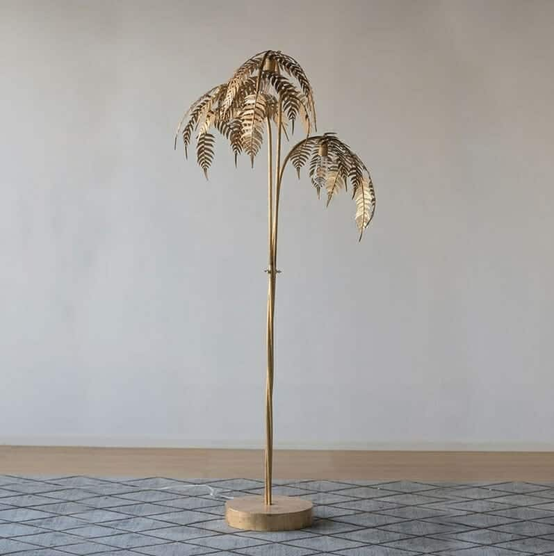 180Cm Metal Palm Tree Floor Lamp With Golden Finish