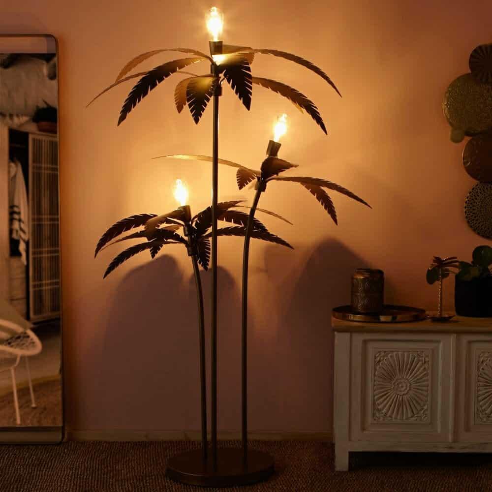 Gold Metal Palm Tree Floor Lamp