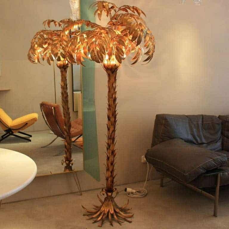 Large Metal Palm Tree Lamp, 1960'S