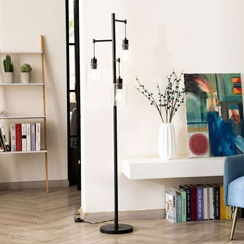 Longshore Tides 65' 3-Light Tree Floor Lamp With Hanging