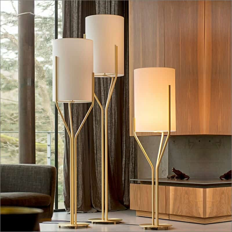 Modern Fabric Gold Tree Branch Led Floor Lamp For Hotel