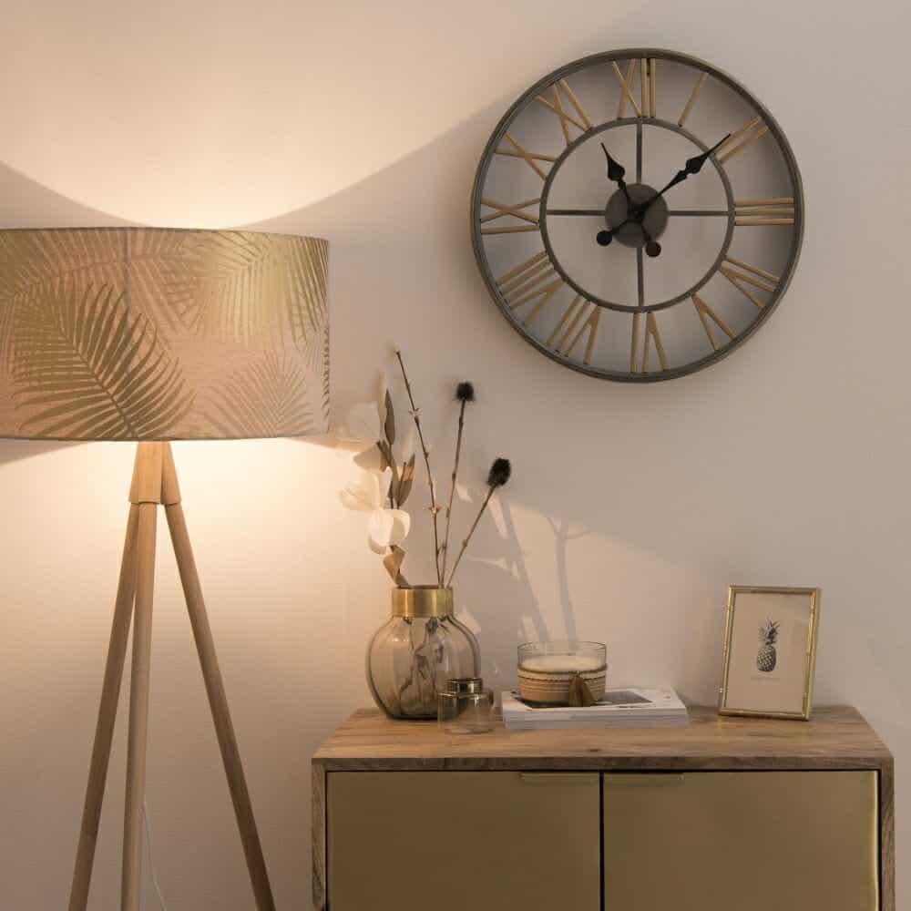 Oak Tripod Floor Lamp With Palm Tree Print Shade