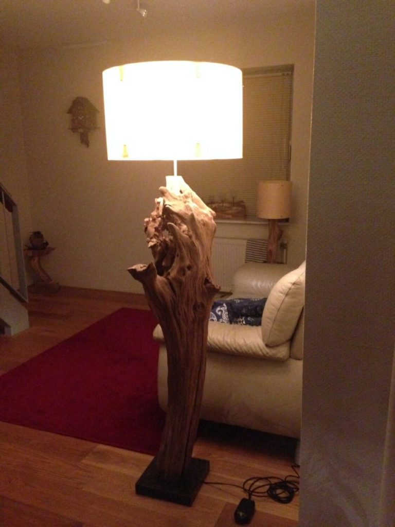 Unique Tree Stump Floor Lamp Made From Old Oak