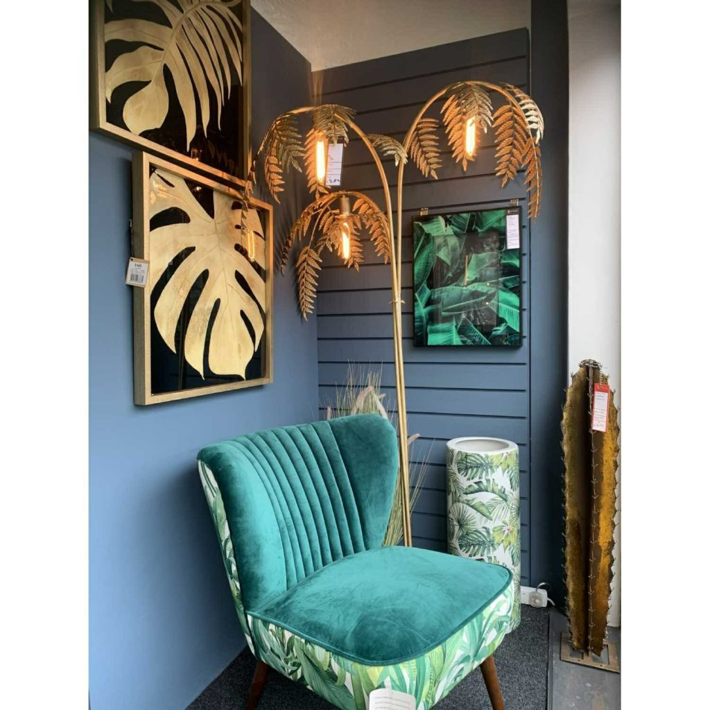 Vintage Art Deco Tall Large Antique Gold Palm Tree Leaf Metal Floor Lamp